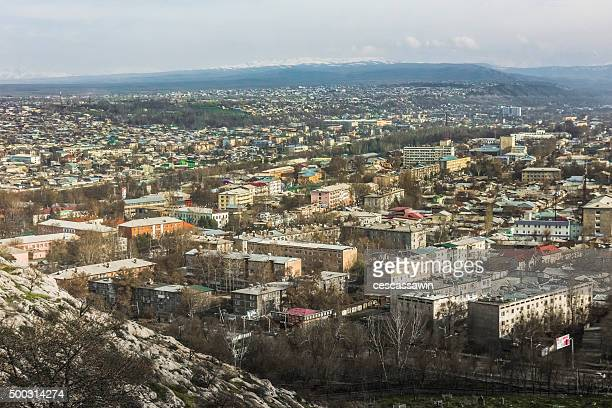 overview of osh at sunset from mount suleyman - osh stock pictures, royalty-free photos & images