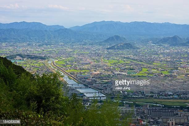 overview of outskirts of takamatsu city - kagawa ストックフォトと画像