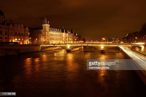 overview of paris cityscape illuminated at night - musee d'orsay stock pictures, royalty-free photos & images