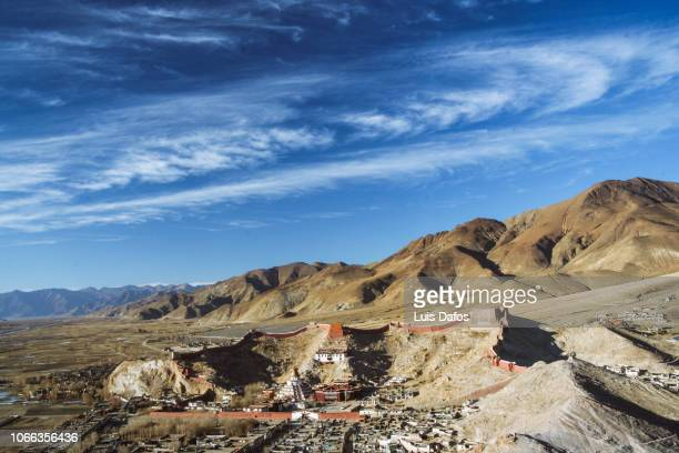 overview of pelkor chode monastery, gyantse - chode picture stock photos and pictures