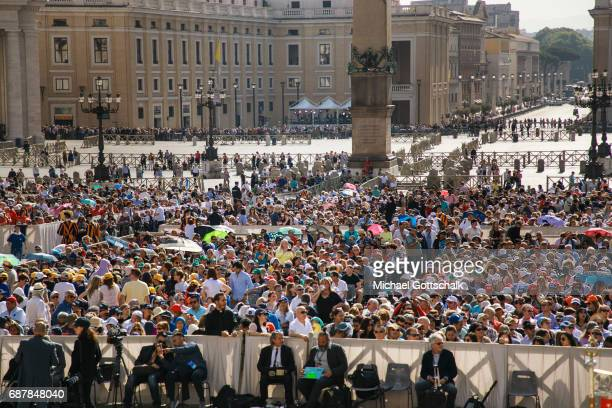 Overview of Pope Francis general audience in StPeter's Square on May 24 2017 in Vatican City Vatican