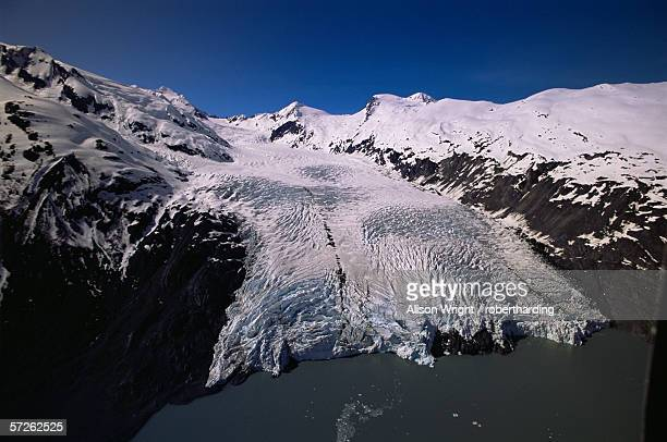 Overview of Portage Glacier from helicopter, Portage, Alaska, United States of America (U.S.A.), North America