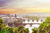 Overview of Prague and Vltava River at sunset