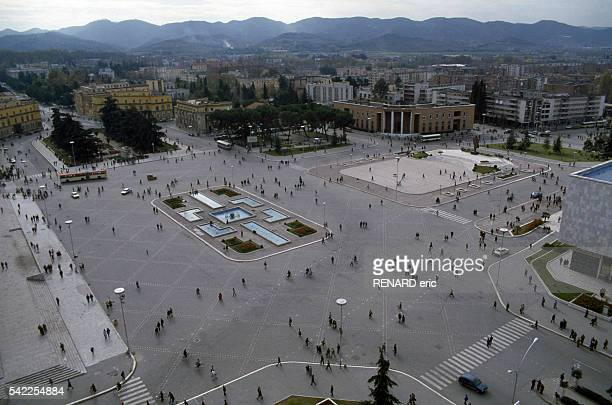 Overview of Skanderbeg Square in the capital Tirana