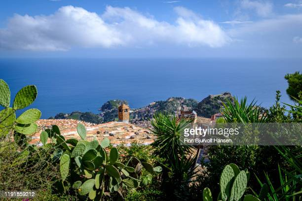 overview of taormina and the mediterranian from castella di mola in castelmola, taormina,sicily - finn bjurvoll stock pictures, royalty-free photos & images