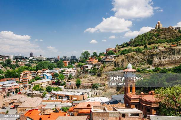 Overview of Tbilisi old town and mosque