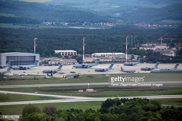 overview of the air mobility command ramp at ramstein air base, germany. - military base stock pictures, royalty-free photos & images