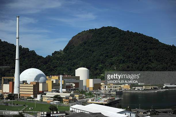 Overview of the Angra 2 nuclear plant and 1 in Angra dos Reis 240 km south of Rio de Janeiro Brazil on April 14 2011 AFP PHOTO/VANDERLEI ALMEIDA