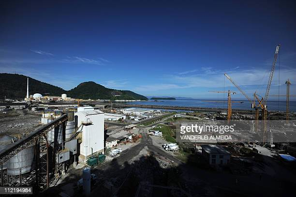 Overview of the Angra 3 nuclear plant under construction in Angra dos Reis 240 km south of Rio de Janeiro Brazil on April 14 2011 At left on the...