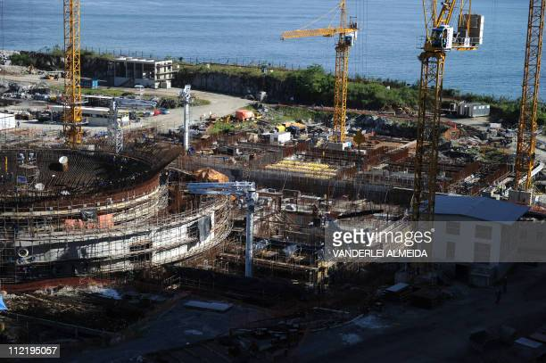 Overview of the Angra 3 nuclear plant under construction in Angra dos Reis 240 km south of Rio de Janeiro Brazil on April 14 2011 Angra 3 is...