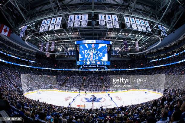 Overview of the arena before the first period between the Toronto Maple Leafs and Montreal Canadiens at the Scotiabank Arena on October 3, 2018 in...