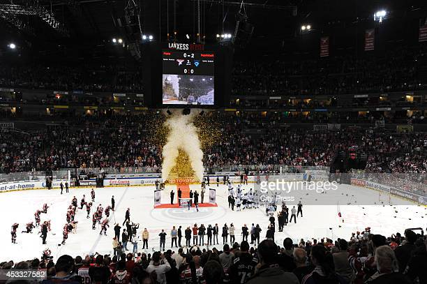 Overview of the award ceremony after game seven of the DEL playoff final on April 29, 2014 in Cologne, Germany.
