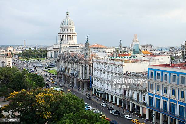 overview of the capitol building. havana. cuba. - hugh sitton stock pictures, royalty-free photos & images