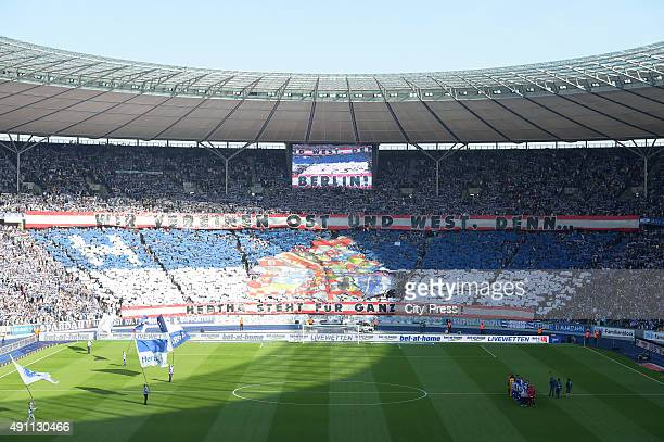 Overview of the choreography of the Hertha fans during the Bundesliga match between Hertha BSC and Hamburger SV on October 3 2015 in Berlin Germany