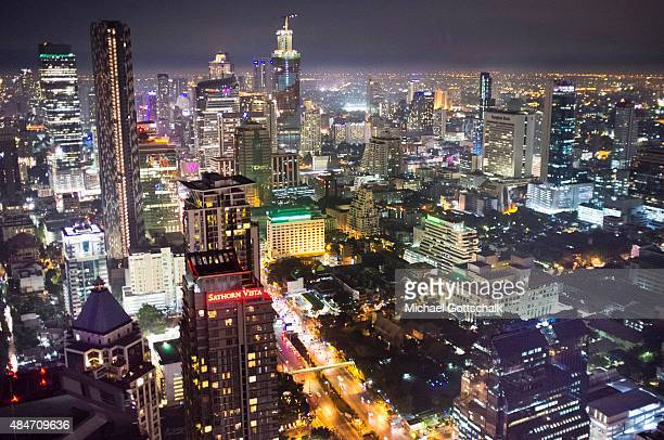 Overview of the city of Bangkok with skyscrapers during night on January 06 2015 in Bangkok Thailand