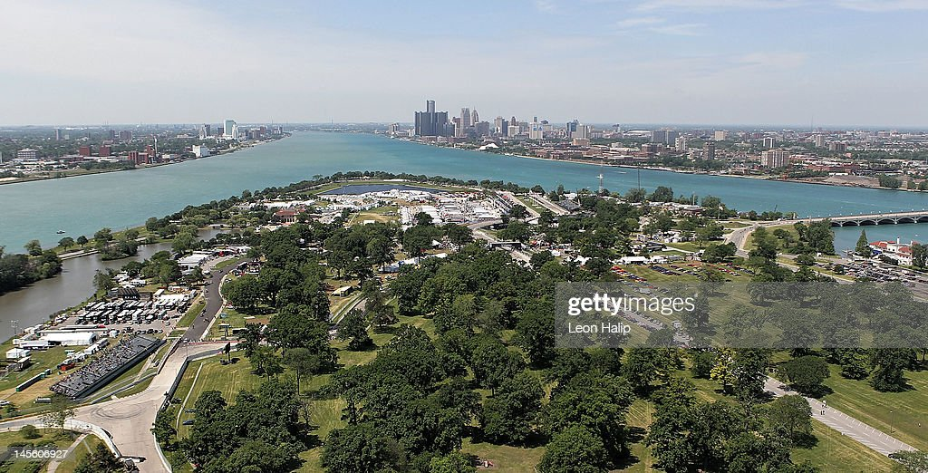 Overview of the City of Detroit and the start finish line during the practice session for the IZOD INDYCAR Series Chevrolet Detroit Belle Isle Grand Prix on Belle Isle in Detroit, Michigan on June 2, 2012 in Detroit, Michigan.