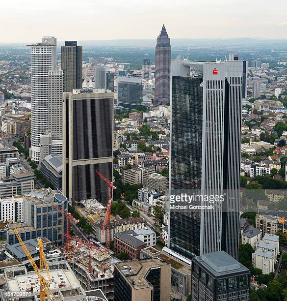 Overview of the City of Frankfurt / Main with Dekra Bank headquarters on August 14 2015 in Frankfurt Germany