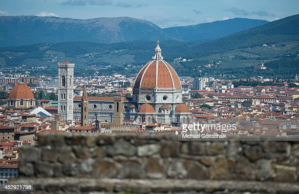 Overview of the City with the Cathedral of Santa Maria del Fiore with the dome on July 22 2014 in Florence Italy
