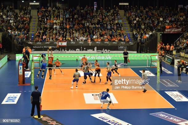 Overview of the court during the game between the Berlin Recycling Volleys and the VfB Friedrichshafen on january 24 2018 in Berlin Germany