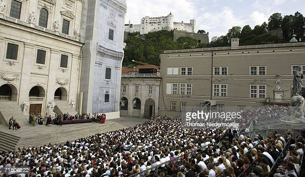 """Overview of the Domplatz, with the castle """"Hohensalzburg"""" in the backround, during the premiere of """"Jedermann"""" at Salzburg Festival on July 23, 2006..."""