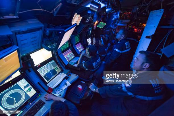 """Overview of the interior of the French Navy attack nuclear submarine """"Saphir"""", during training exercises on February 28, 2009 off Saint-Mandrier,..."""