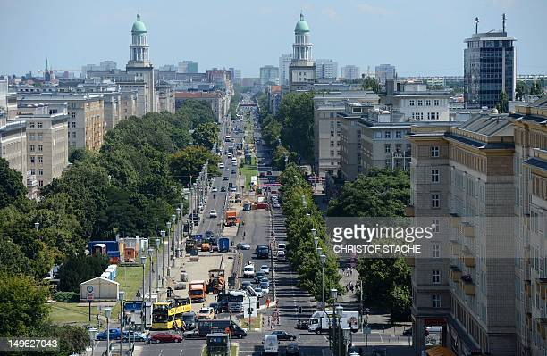 Overview of the KarlMarxAllee with the twin towers of the Frankfurter Tor in Berlin on August 1 2012 Berlin is seeking to have the KarlMarxAlle and...