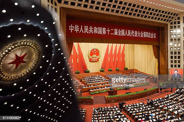 Overview of the main meeting hall of the Great Hall of the People during the Second Plenary Meeting on March 9 2016 in Beijing China The 12th...