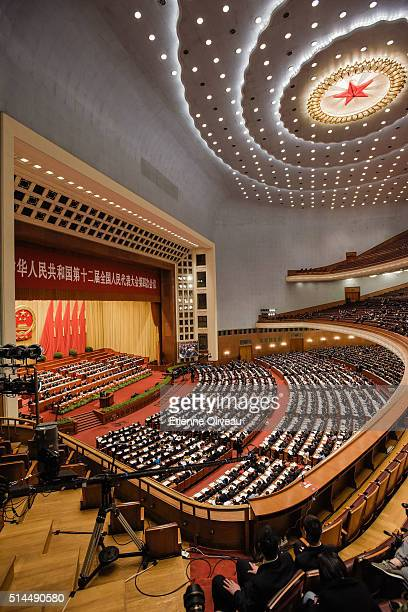 Overview of the main meeting hall of the Great Hall of the People during the Second Plenary Meeting on March 9, 2016 in Beijing, China. The 12th...