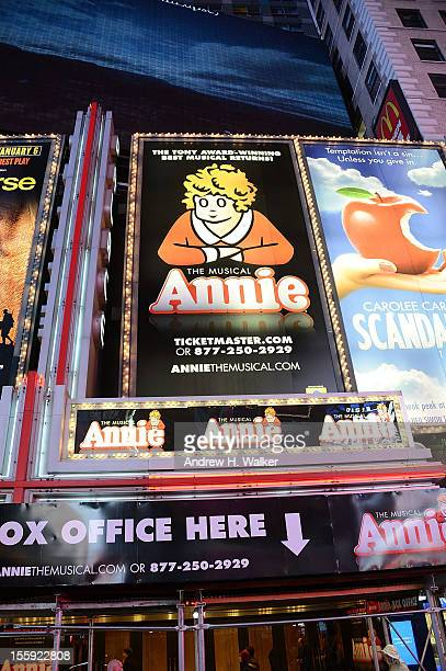 Overview of the marquee during the opening night of 'Annie' on Broadway at Palace Theatre on November 8 2012 in New York City