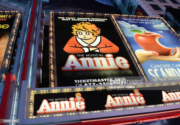 Overview of the marquee during the opening night of Annie on Broadway at Palace Theatre on November 8 2012 in New York City