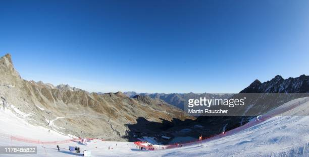Overview of the mountain and the finsih Area in the second run of the Audi FIS Alpine Ski World Cup - Men's Giant Slalom at Rettenbachferner on...