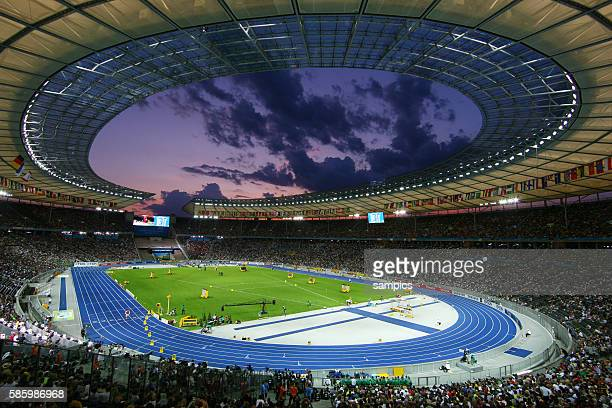 Overview of the Olympic Arena at sunset during the 2009 IAAF World Championships at the Olympic Stadium in Berlin Germany