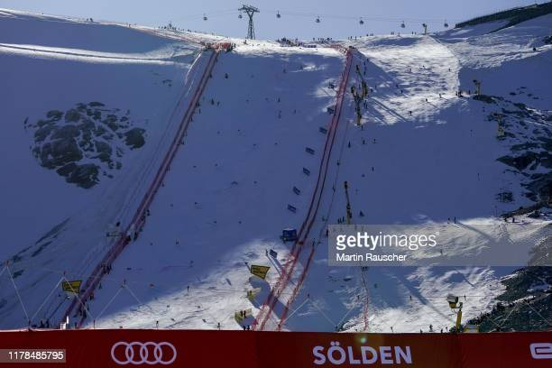 Overview of the race track in Soelden in the second run of the Audi FIS Alpine Ski World Cup - Men's Giant Slalom at Rettenbachferner on October 27,...