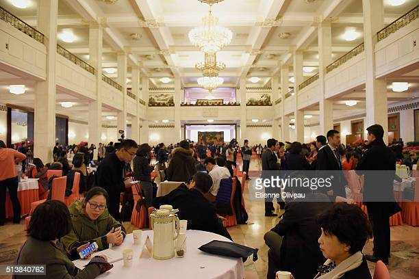 Overview of the resting area inside the Great Hall of the People during the opening session of the China's National People's Congress on March 5 2016...