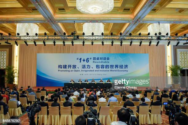 Overview of the room where is held The 1+6 Round Table Press Conference at Diaoyutai State Guesthouse on September 12, 2017 in Beijing, China.