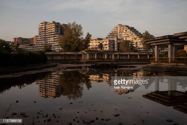 Overview of the Scampia sails from the Ciro Esposito Park on November 17, 2016 in Naples, Italy. The Brutalist apartment blocks known as Le Vele or...