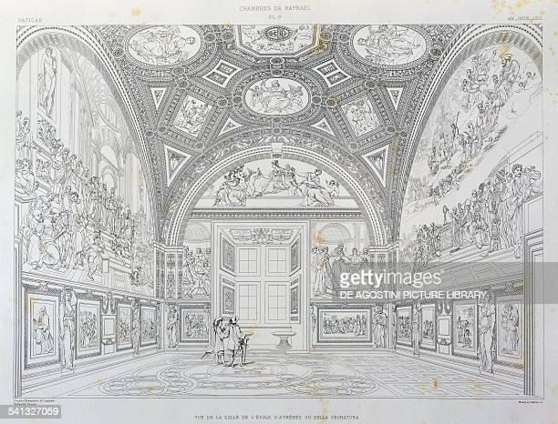 Overview of the School of Athens room or Room of the Signatura engraving from The Vatican and St Peter's Basilica by Paul Marie Letarouilly Volume II...