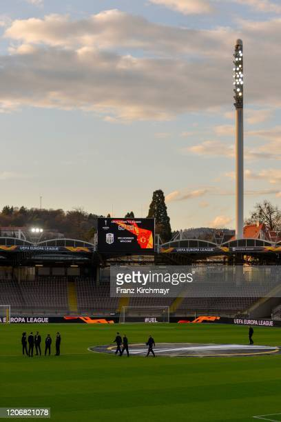 Overview of the stadium before the Group D UEFA Europa League match between LASK and Manchester United at Stadion der Stadt Linz on March 12 2020 in...