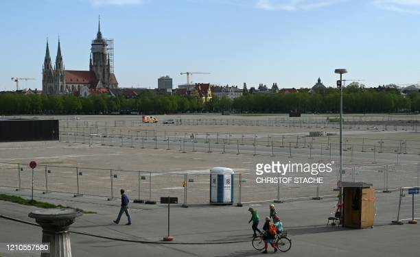 Overview of the Theresienwiese, the Oktoberfest beer festival place in Munich, southern Germany, on April 21, 2020. - Bavarian state governor Markus...