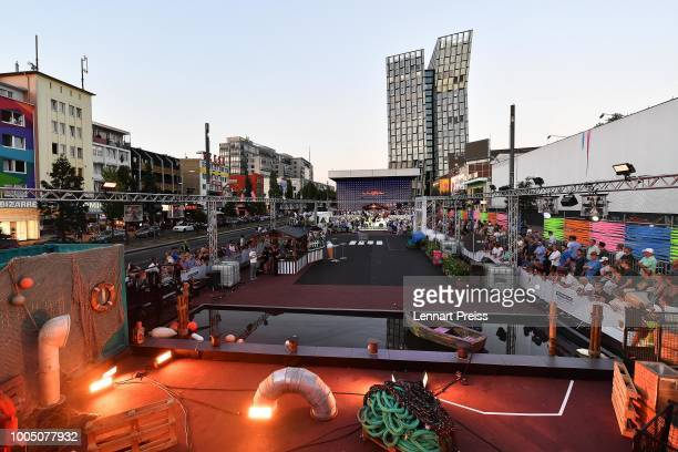 Overview of the venue during the Porsche Urban Golf Challenge on the Reeperbahn on July 24 2018 in Hamburg Germany