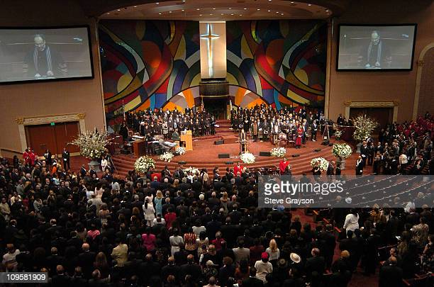 Overview of the West Angeles Cathedral in Los Angeles California during the funeral service for the late Johnnie Cochran on April 6 2005
