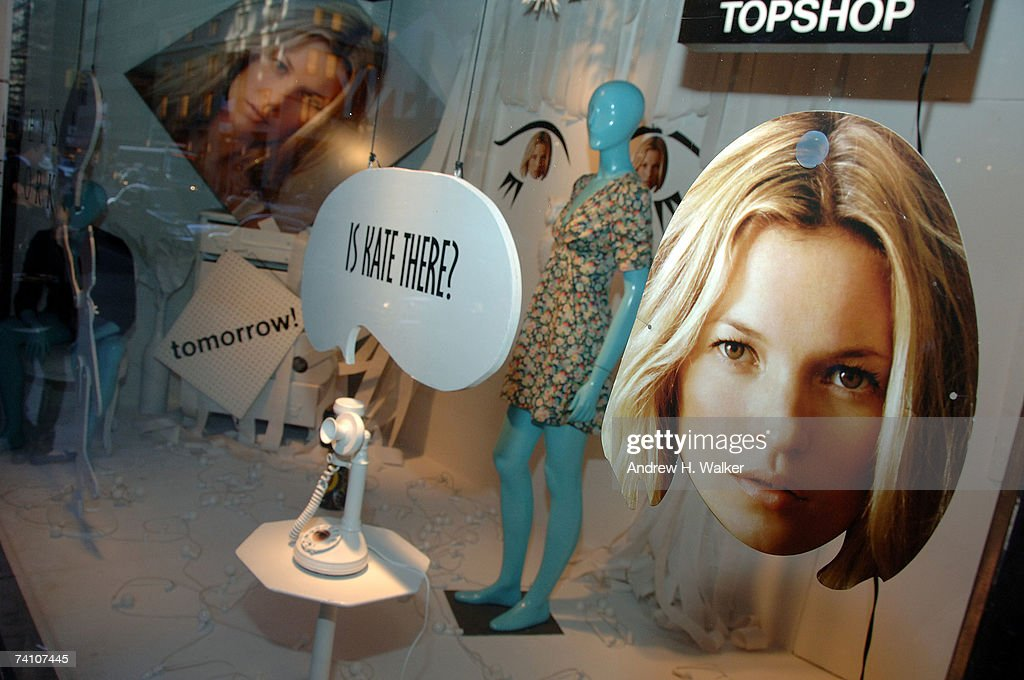 Overview of the window display during the Kate Moss launch of TopShop at Barneys New York on May 8, 2007 in New York City.