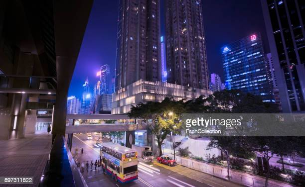 Overview of Wan Chai district, Hong Kong by night