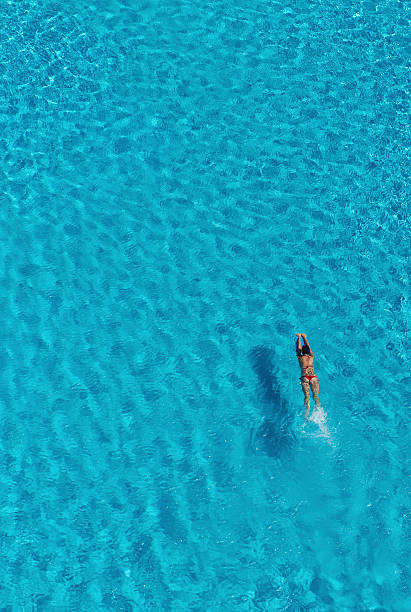 Overview Of Woman In Swimming Pool, Cancun, Mexico Wall Art