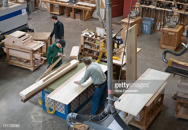 overview of woodworking shop - construction material stock pictures, royalty-free photos & images