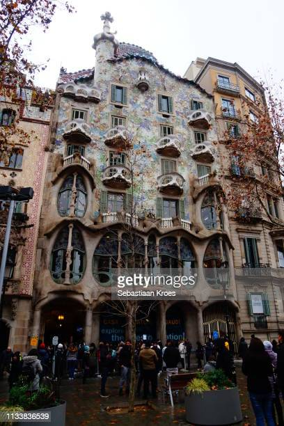 Overview on Casa Batlló with people, Barcelona, Spain