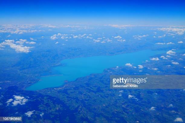 overview on colourful bodensee lake, germany, austria, switzerland - bodensee stock pictures, royalty-free photos & images