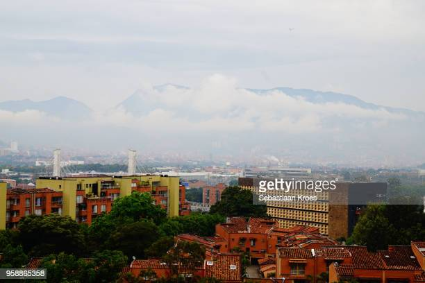 Overview on Medellin, Morning, Cloudy, Fog, Airplane, Colombia