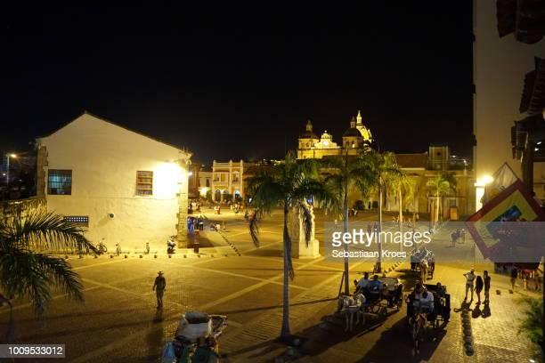 Overview on Plaza de la Aduana, Night, People, Cartagena, Colombia