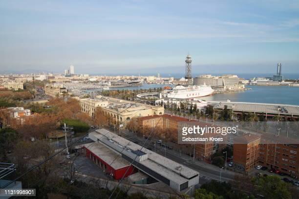 Overview on Port of Barcelona at Dusk, Barcelona, Spain